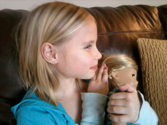 This sweet girl hopes to purchase an American Girl hearing aid for her doll, Kit, soon. They both love to Show Me Their Ears!