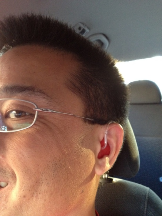 "Phil was born with a severe hearing loss. He wears Oticon Sumo hearing aids in both ears and confesses, ""I still can't hear much speech."" Love the red ear mold, Phil!"