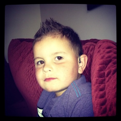 Cal, age 4, wears bilateral AB cochlear implants. Doesn't he look handsome?