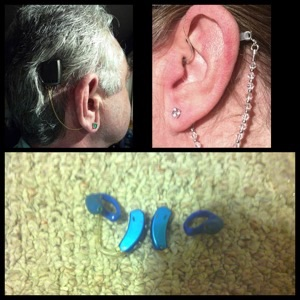 Gary and Sue Gnat show off their ears: Gary's BAHA (bone-anchored hearing aid), top left; and Sue's Phonak Audeo hearing aids, top right. The new blue hearing aids at the bottom are worn by Aaron Nazelrod. Lipreading Mom loves your style!